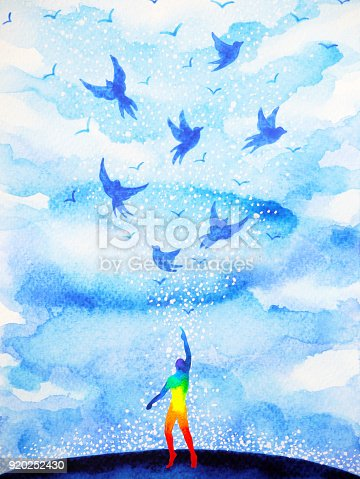 653098388istockphoto abstract human flying birds spiritual mind in blue cloud sky illustration watercolor painting design hand drawn 920252430