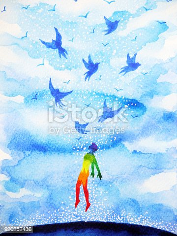 653098388istockphoto abstract human flying birds spiritual mind in blue cloud sky illustration watercolor painting design hand drawn 920252436