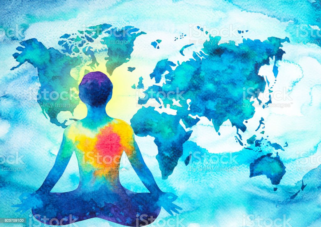 Abstract Human Meditator Chakra Universe Power World Map Background