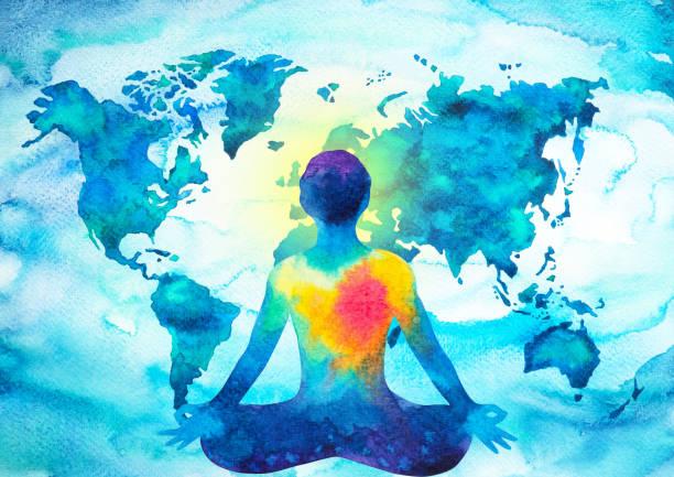 bildbanksillustrationer, clip art samt tecknat material och ikoner med abstrakta mänskliga meditatören chakra universum power världen karta bakgrunden design blå grön akvarellmålning - earth from space