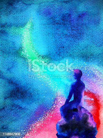 653098388istockphoto abstract human thinking spiritual mind universe power watercolor painting illustration design 1148647905