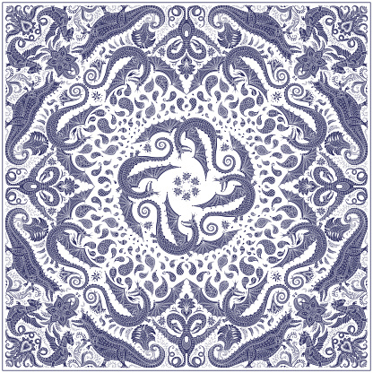 Abstract humorous blue gray dragon print on a white background. Paisley pattern, hand drawn flowers, leaves and fantasy beast animals, ornate cute monsters. Bandana design, scarf, kerchief ornament, tee shirt print