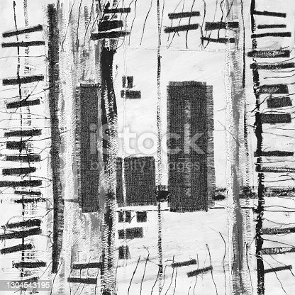 istock Abstract illustration black and white fabric applique. Ethnic background 1304543195