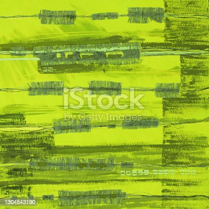 istock Abstract illustration green fabric applique. Ethnic background 1304543190