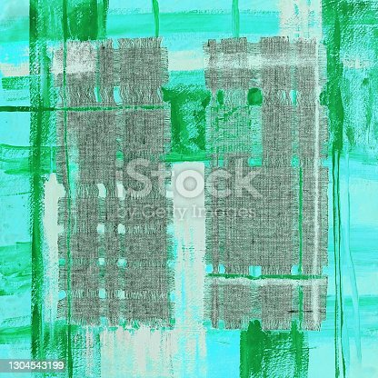 istock Abstract illustration green fabric applique. Ethnic background 1304543199