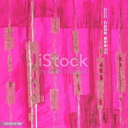 istock Abstract illustration pink fabric applique. Ethnic background 1304543193