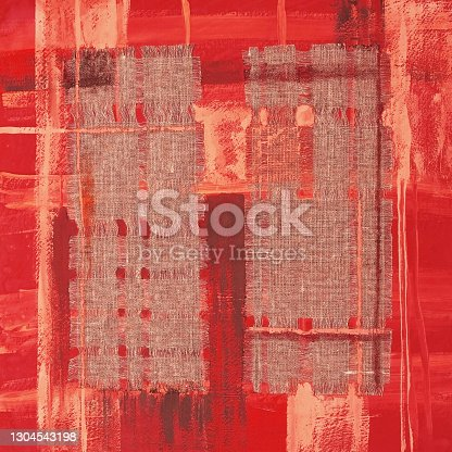 istock Abstract illustration red fabric applique. Ethnic background 1304543198