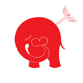Abstract illustration with elephant and hearts. illustration for t-shirt design, greeting card, invitation