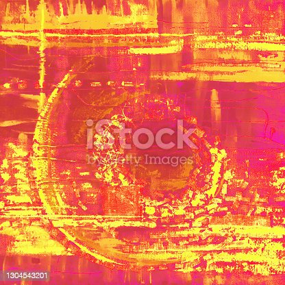 istock Abstract illustration yellow pink red fabric applique. Ethnic background 1304543201