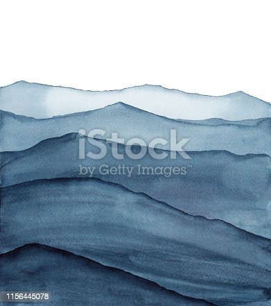 abstract indigo blue watercolor illustration
