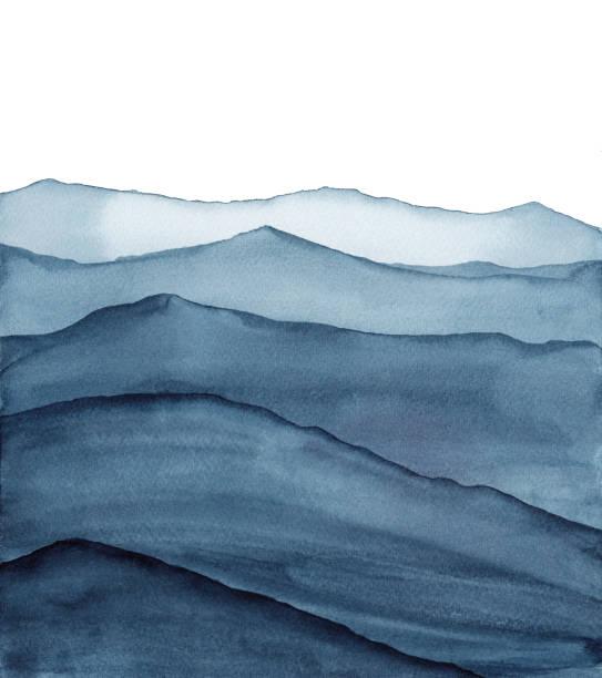 абстрактные индиго синий акварели волны горы на белом фоне - nature stock illustrations