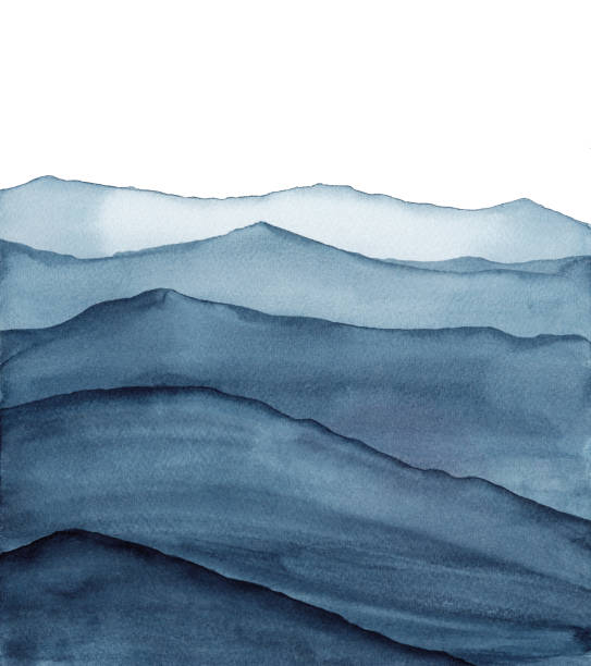 abstract indigo blue watercolor waves mountains on white background abstract indigo blue watercolor illustration nature stock illustrations