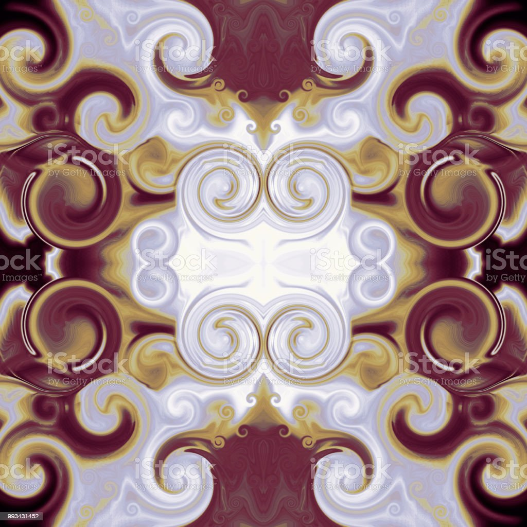 Abstract kaleidoscope fairy ornament with colored curls and swirls. Vibrant background in bordo, golden, gray, white tones. Square template for stylish patterns, dainty decoration, fashion, textile, tapestry design, wrapping paper, scrapbooking, web pages векторная иллюстрация
