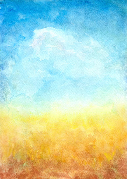 Abstract Landscape Background Watercolor an abstract background, my own artwork. impressionism stock illustrations