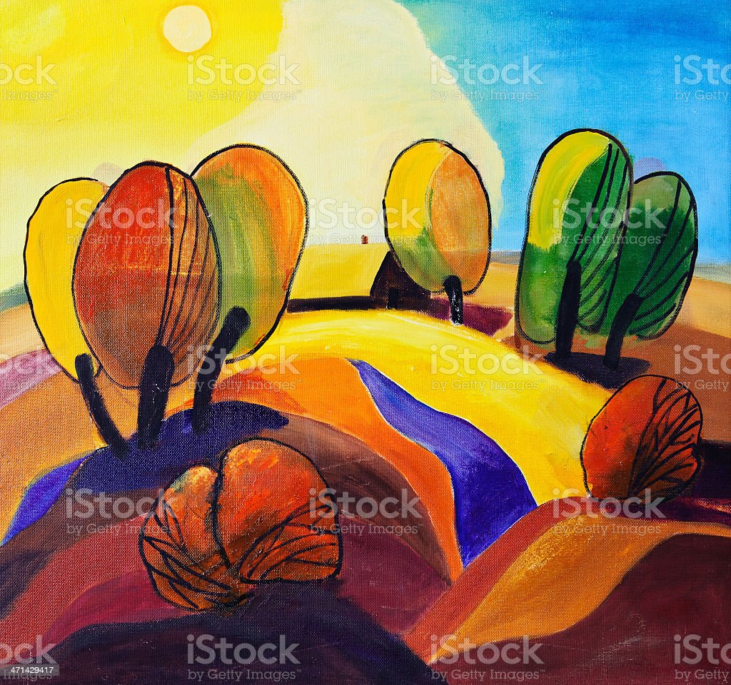 Abstract landscape vector art illustration