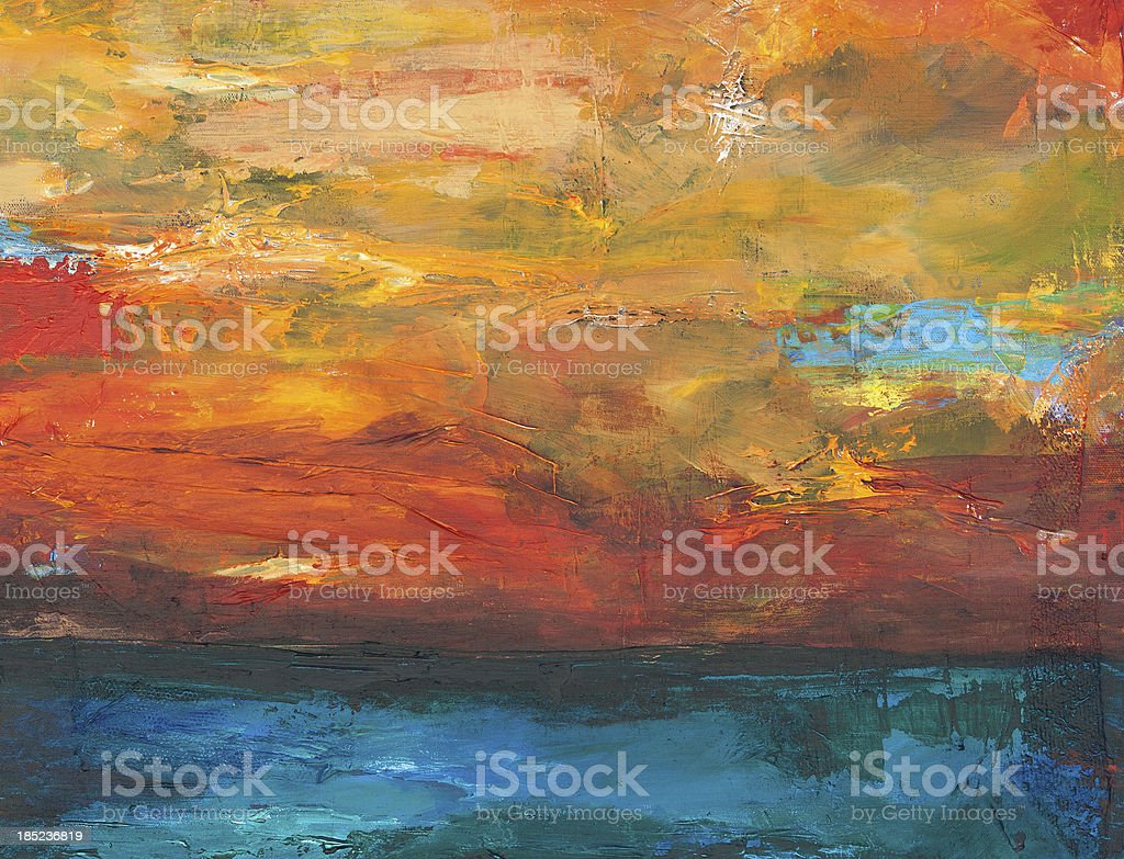Abstract landscape painting vector art illustration