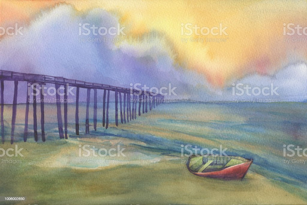 ba133d6ff Abstract landscape with a boat on the beach ocean and sea pier. View of sea,  cloudy sky at sunset. Watercolor hand drawn painting illustration.