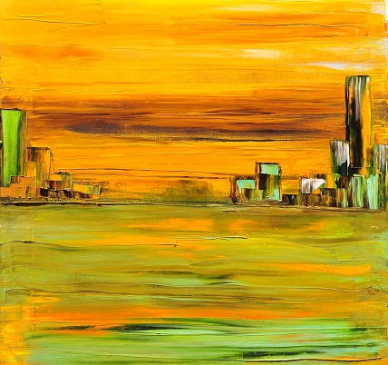 Abstract Landscape with City on the Horizon  Contemporary Art Painting