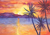 Abstract landscape with palms on the beach ocean at sunset. View of silhouettes hills, cloudy sky. Watercolor hand drawn painting illustration.