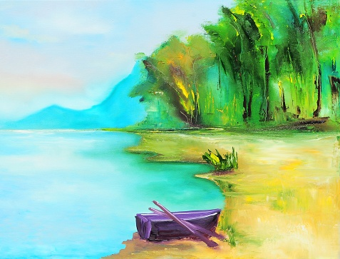 Abstract Landscape with Purple Boat Contemporary Art Painting
