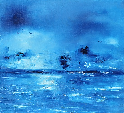 Abstract Landscape with sea Contemporary Art Painting