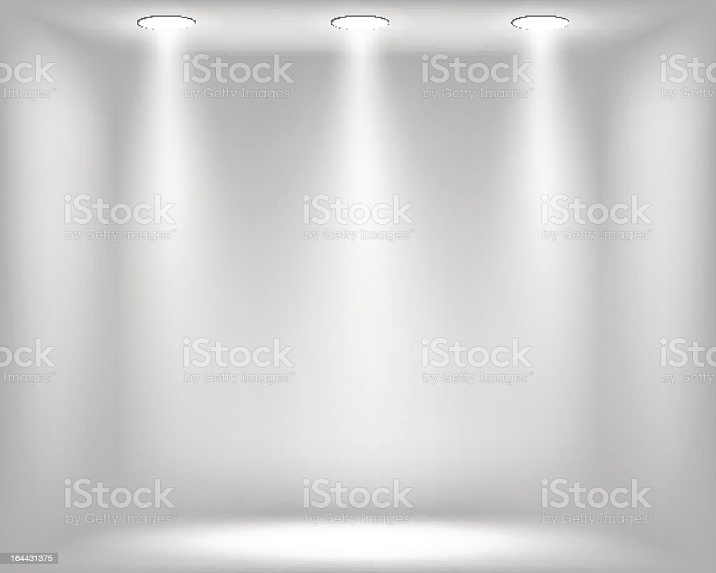 Abstract light grey background with spotlights vector art illustration