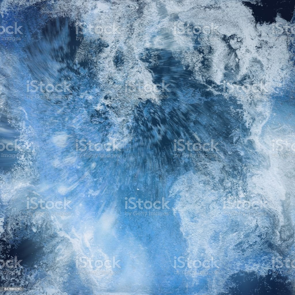 Abstract liquid blue background. Pattern with abstract frozen and black waves. Marble. Handmade surface. Liquid paint. Acrillic wallpaper. Mineral frost texture. vector art illustration