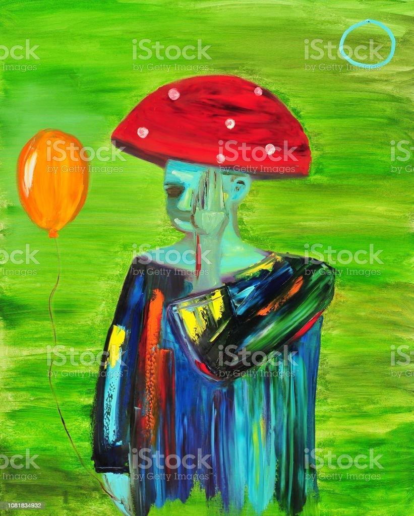 Mannes Figur Mit Ballon Zeitgenossische Kunst Abstrakte Malerei Stock Vektor Art Und Mehr Bilder Von Abstrakt Istock