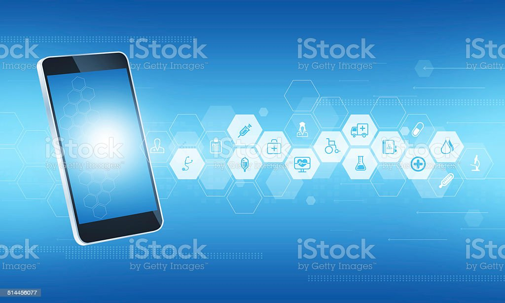 Abstract medical science and health connect mobile background vector art illustration