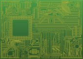 Abstract electronic circuit board background with chip.