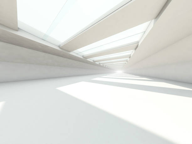 Abstract modern architecture background, empty white open space interior. 3D rendering Abstract modern architecture background, empty white open space interior. 3D rendering showroom stock illustrations