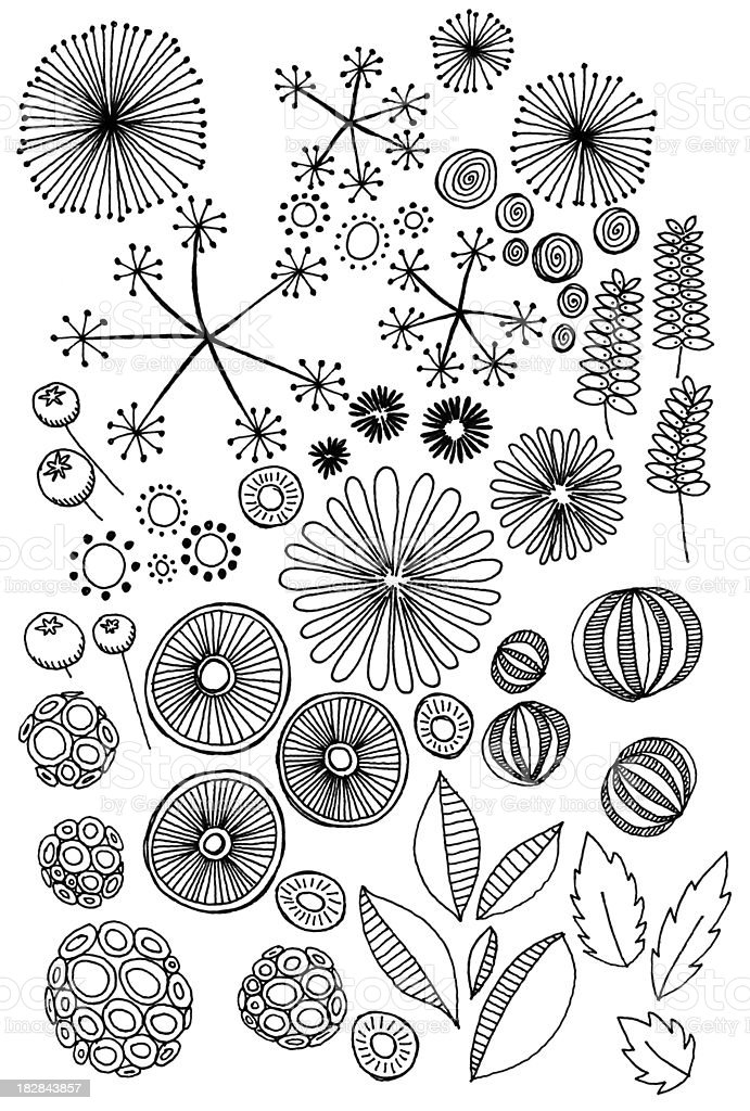 abstract nature doodles vector art illustration
