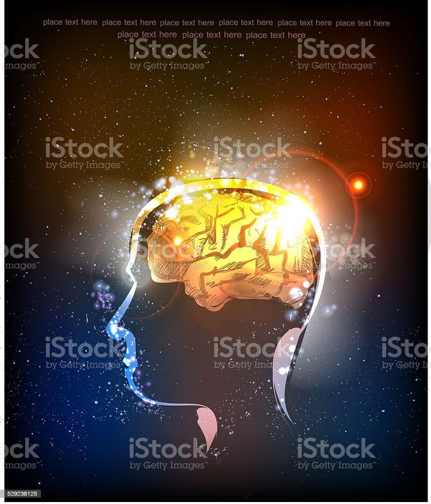 抽象的な背景ネオン人間の頭部なアイデアと移りゆく descovery の