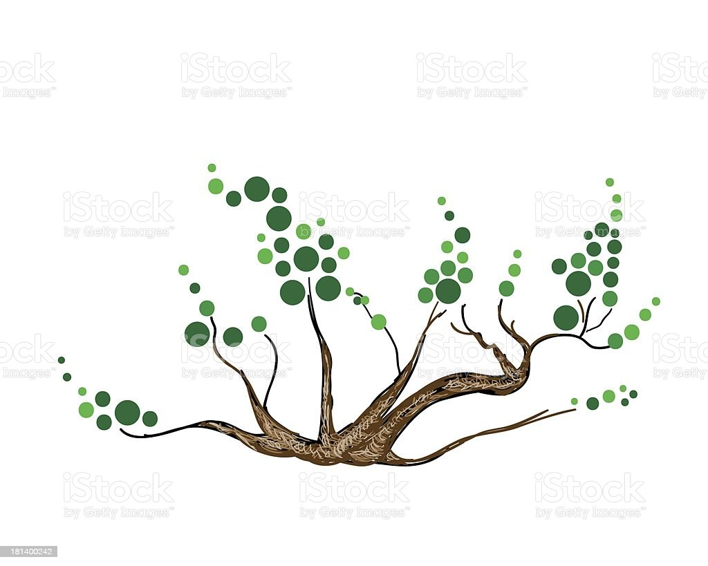 Abstract of Isometric Green Tree and Plant vector art illustration