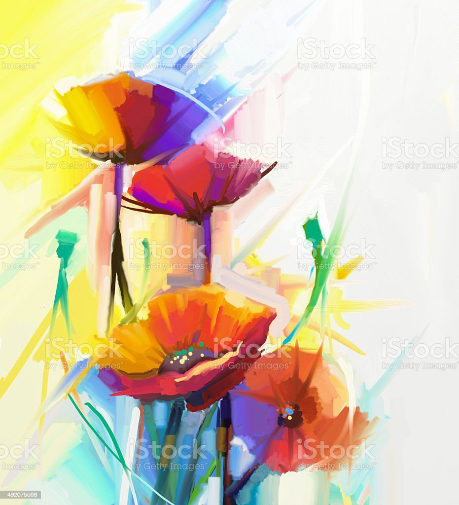 Abstract Oil Painting Still Life Red Poppy Flowers Stock Vector Art