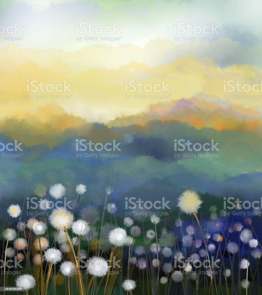 Abstract oil painting white flowers field in soft color vector art illustration