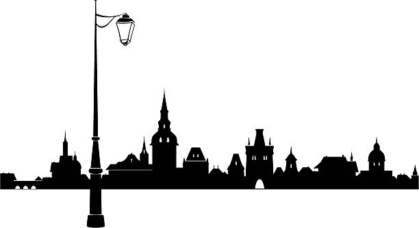 Abstract old town Abstract medieval European town. back lit stock illustrations