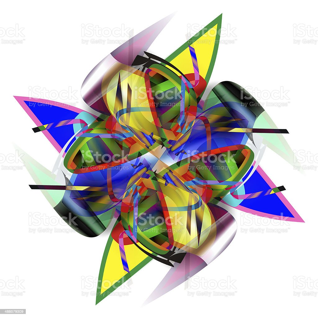 Abstract ornament with 3D-effect vector art illustration