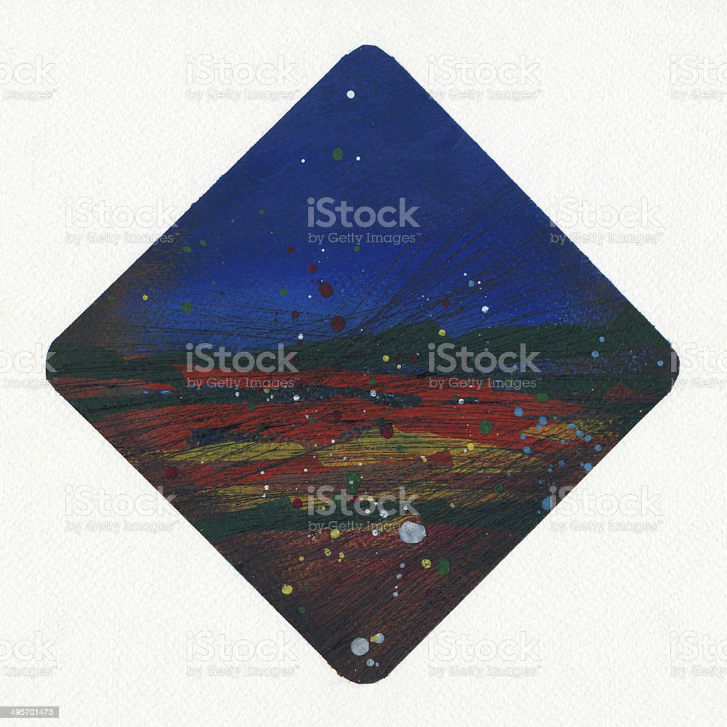 Abstract painted diamond shape on textured paper royalty-free stock vector art