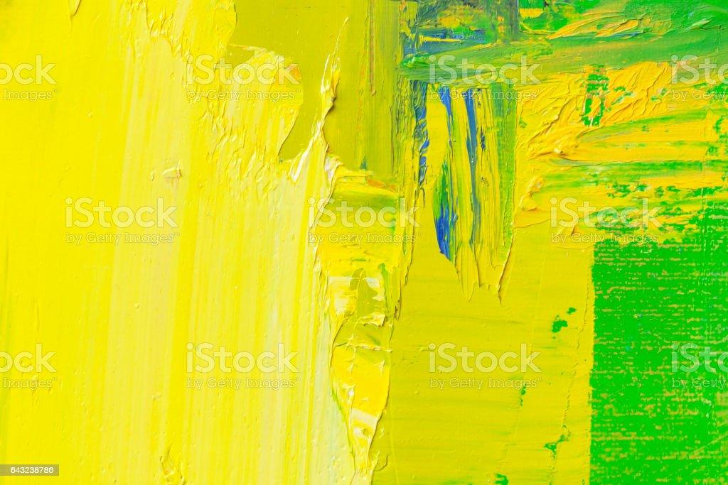 Astratto Dipinto Sfondo Verde E Giallo Arte Immagini Vettoriali