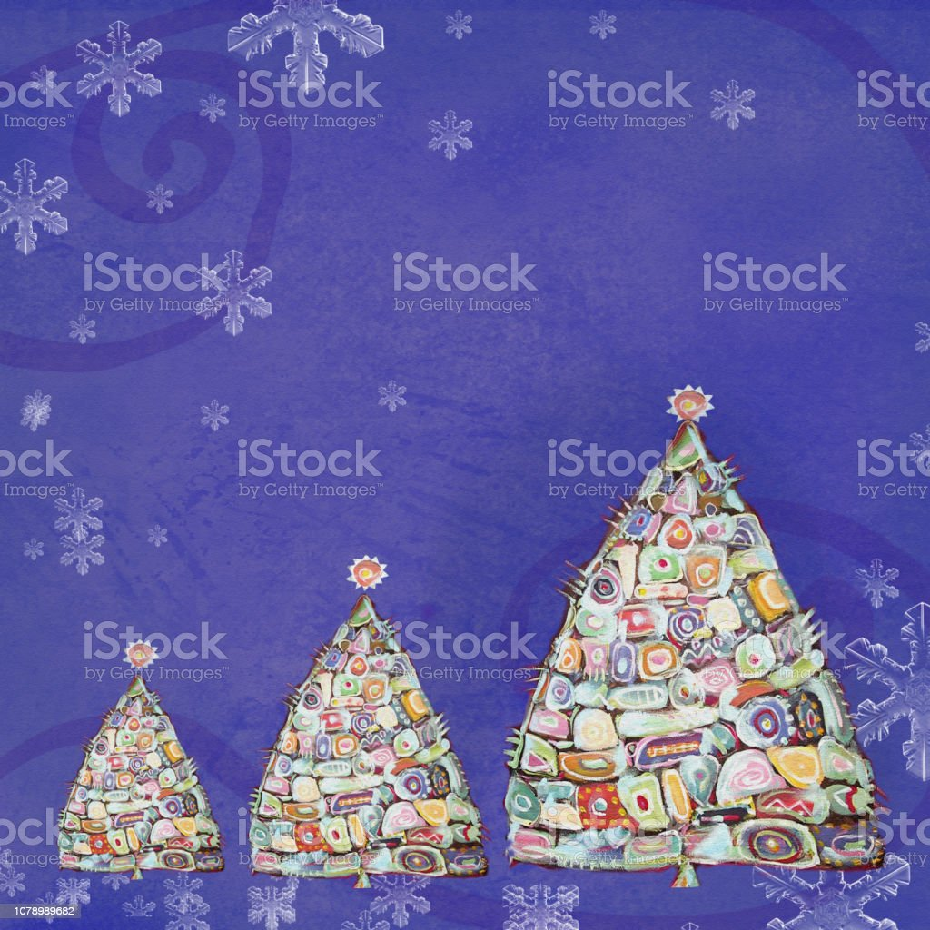 Acrylic Christmas Tree Painting.Abstract Painting Christmas Tree Design Template With Place