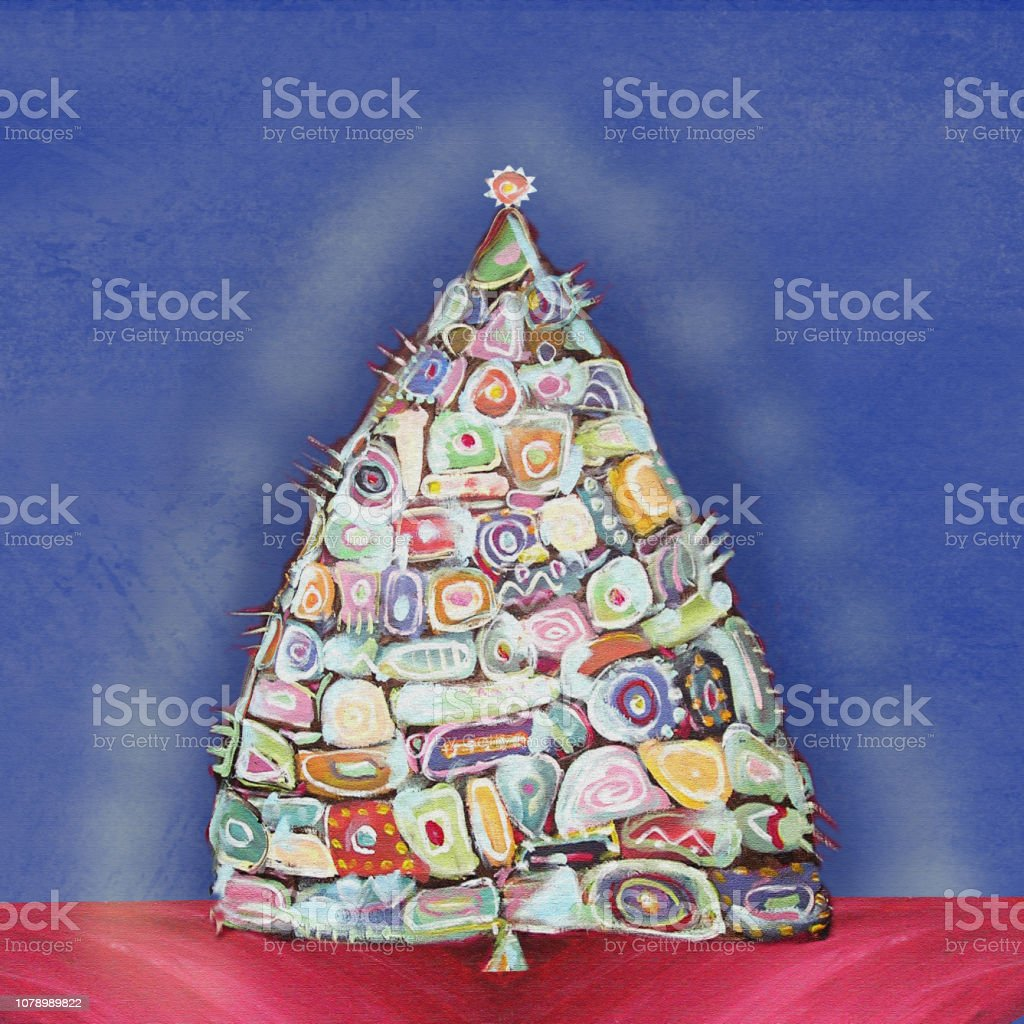 Abstract Painting Christmas Tree With Ethnic Inclusions Stock Illustration Download Image Now Istock