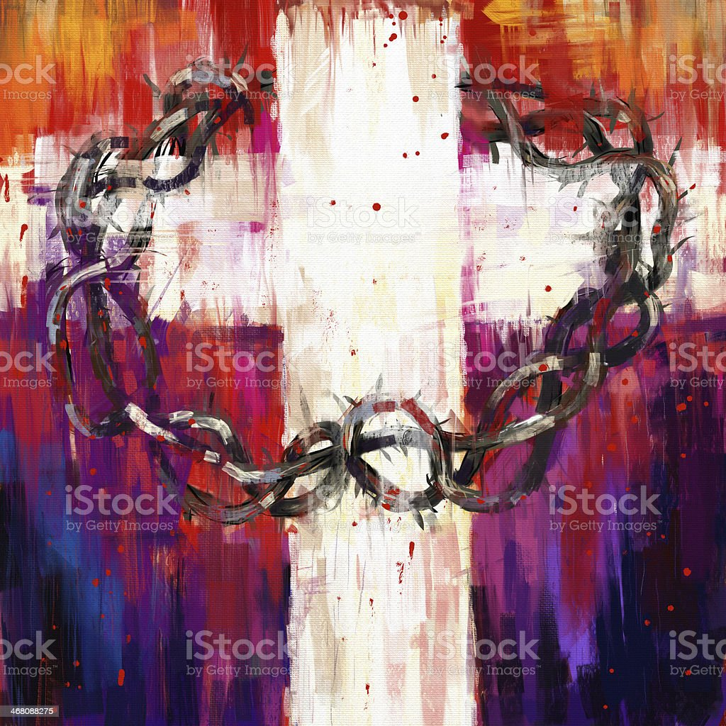 Abstract painting of a crown of thorns vector art illustration