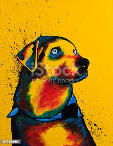 Original acrylic painting on canvas of a dog. By Jamie Carroll, 2-16-18.