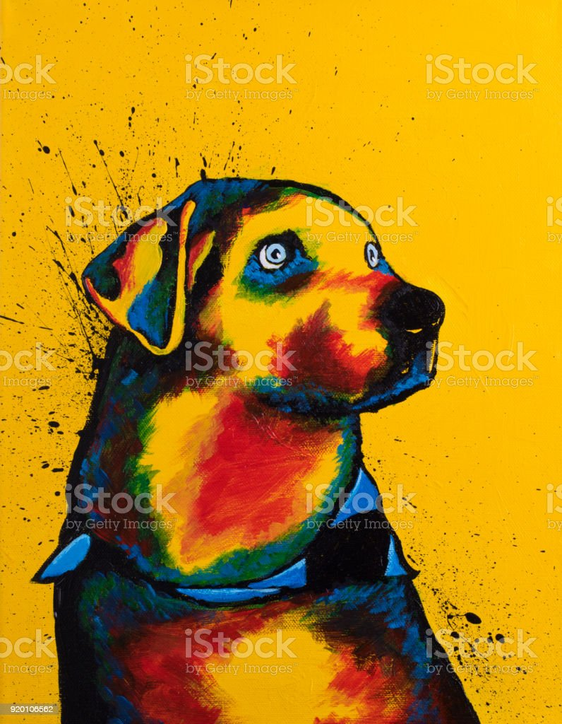 Abstract painting of a dog vector art illustration
