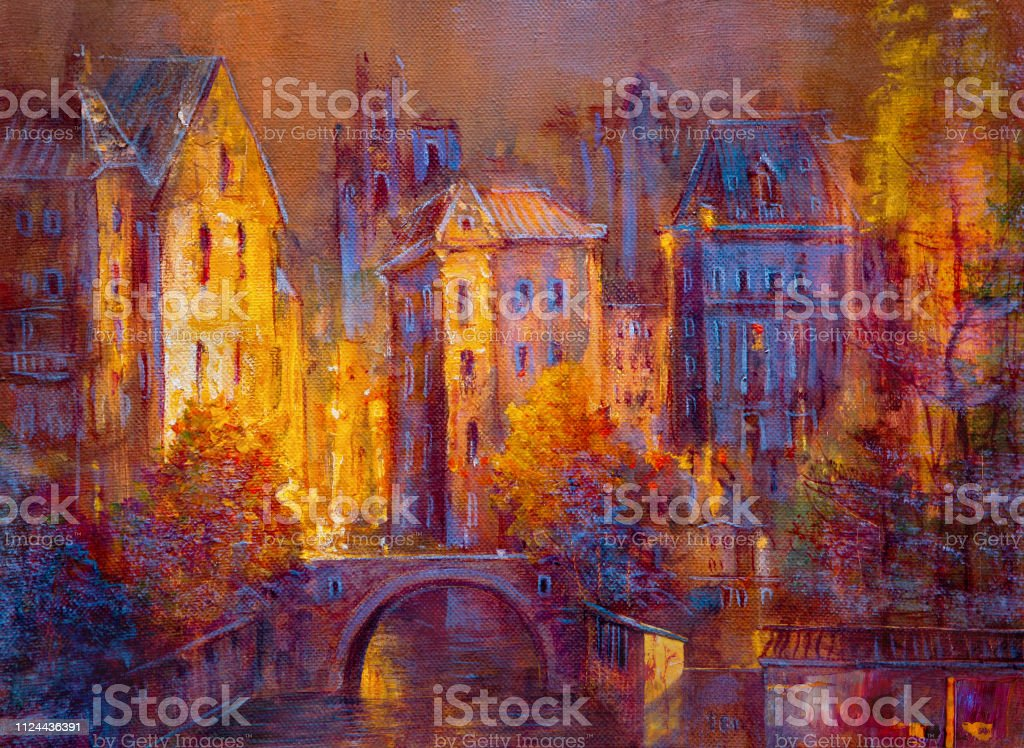 Painting of cityscape. Abstract style.