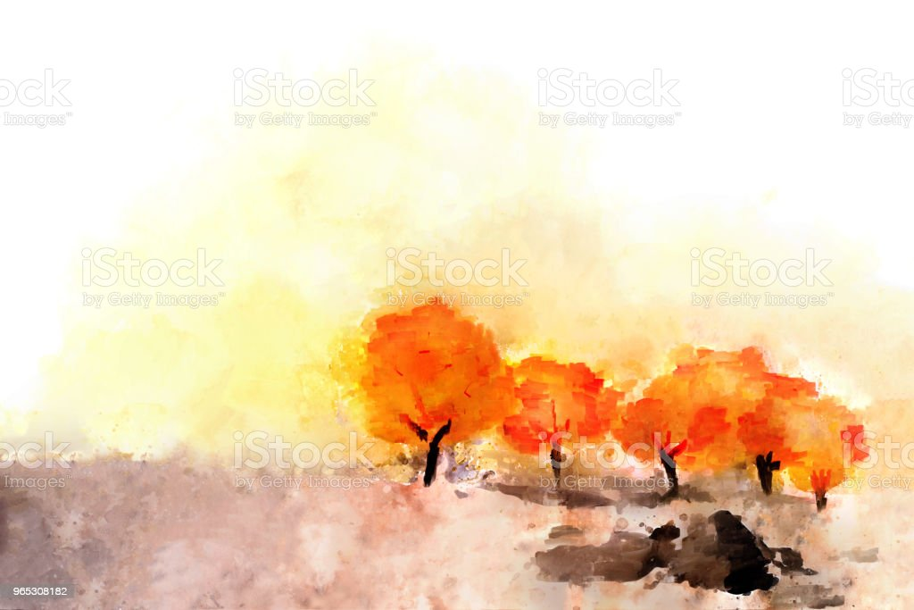 Abstract painting of colorful trees in autumn in warm tone royalty-free abstract painting of colorful trees in autumn in warm tone stock vector art & more images of abstract