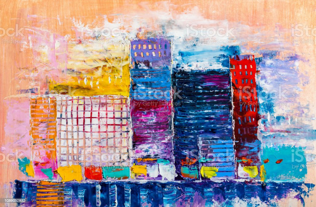 Abstract Painting Of Urban Skyscrapers Stock Illustration