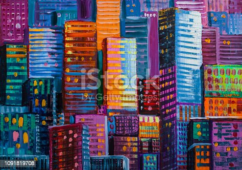 Artistic painting of skyscrapers. Abstract style. Cityscape oil paints.