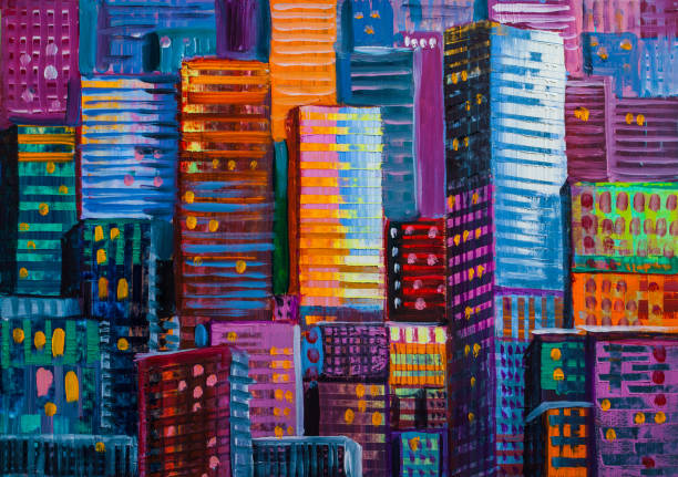 abstract painting of urban skyscrapers. - painting activity stock illustrations